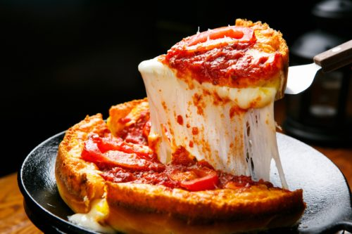 Thickly layered pizza